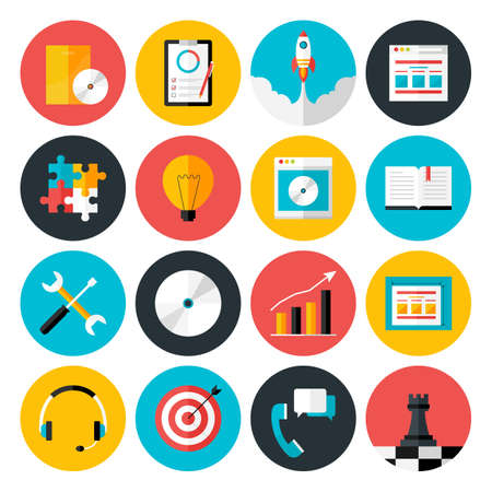 set design: Flat icons vector collection of web design objects, business, office and marketing items. Flat stylized icons set