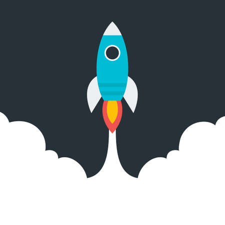 Flat stylized flying rocket. Flat stylized object