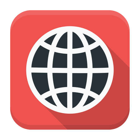 to gather: Globe app icon with long shadow. Flat stylized square app icon with long shadow