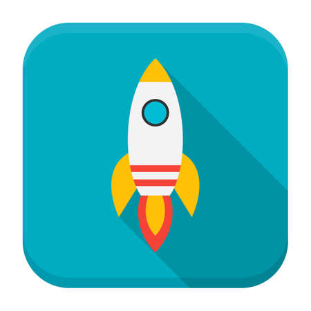 booster: Rocket app icon with long shadow. Flat stylized square app icon with long shadow Illustration