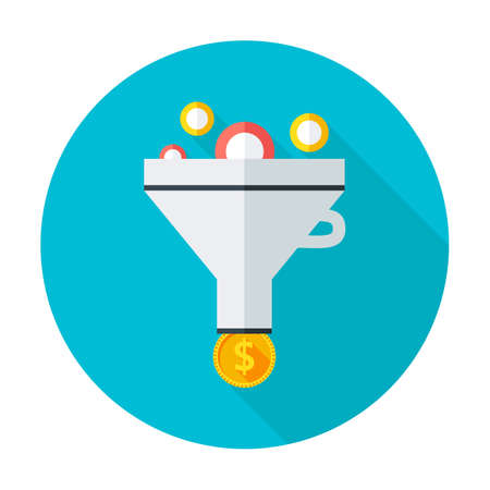 data exchange: Funnel flat circle icon. Flat stylized circle icon with long shadow