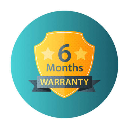 six months: Six Months Warranty circle icon. Flat icon with halftone texture Illustration