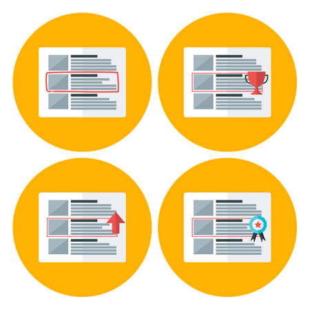 advert: Advert flat circle icons set. Flat stylized icons set Illustration