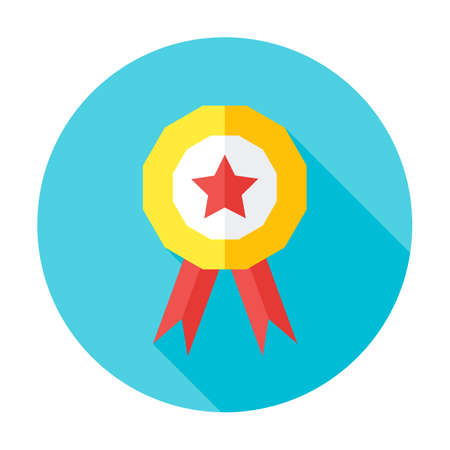 best quality: Competition award flat circle icon. Flat stylized circle icon with long shadow