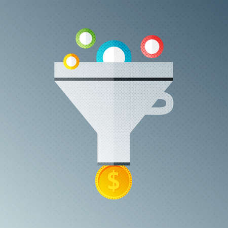 Funnel with money. Flat sign with halftone texture Illustration