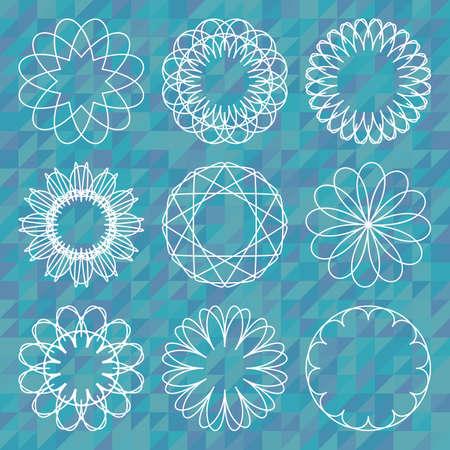 spirograph: Spirograph round ornament set over polygonal background. Set of spirograph design elements.