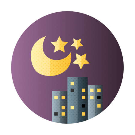 Urban city night life flat circle icon. Flat icon with halftone texture
