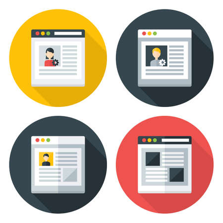 site web: Web page flat circle icons set. Flat stylized icons set with long shadows Illustration