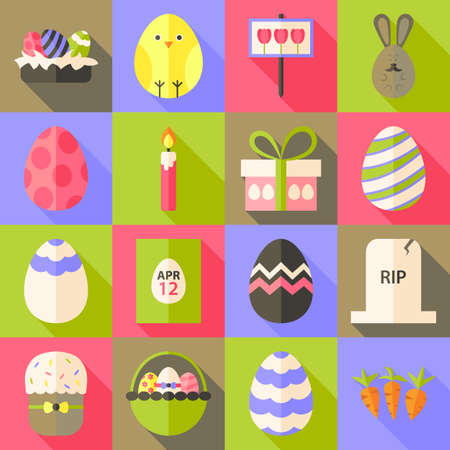 cartoon easter basket: Easter flat styled icon set 1 with long shadow. Flat stylized icons set with long shadow Illustration