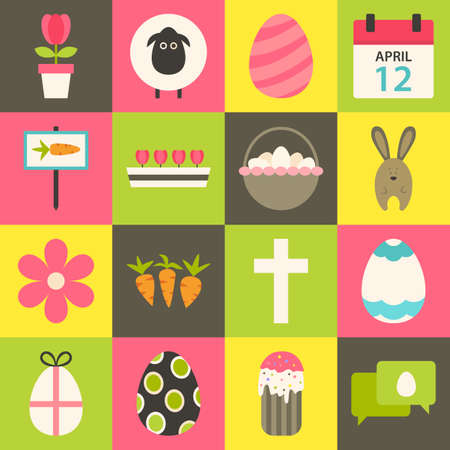Easter flat stylized icon set 3. Flat styled colorful Easter icons set Vector