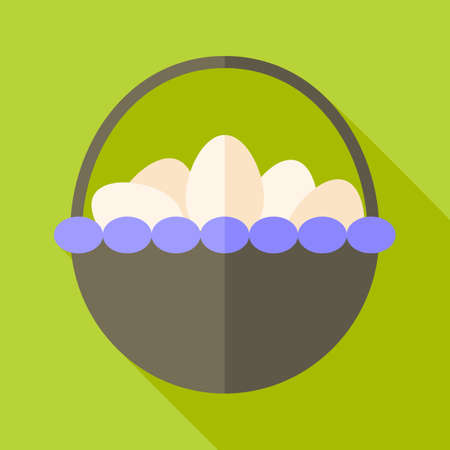 Basket with eggs. Flat stylized illustration with shadow Illustration