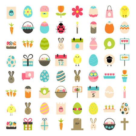 basket: Easter big flat styled icons set over white. Flat stylized icons set Illustration