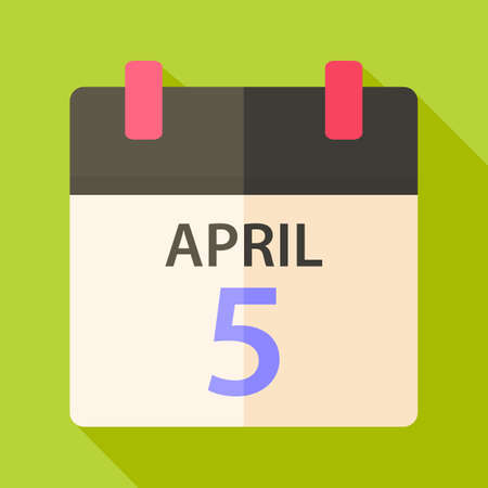 Easter calendar with date 5 april. Flat stylized illustration with shadow Vector