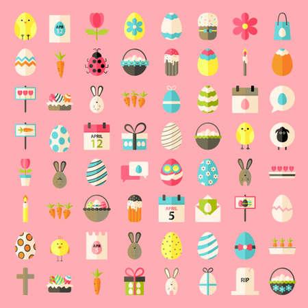 Easter flat style icons. Flat stylized icons set