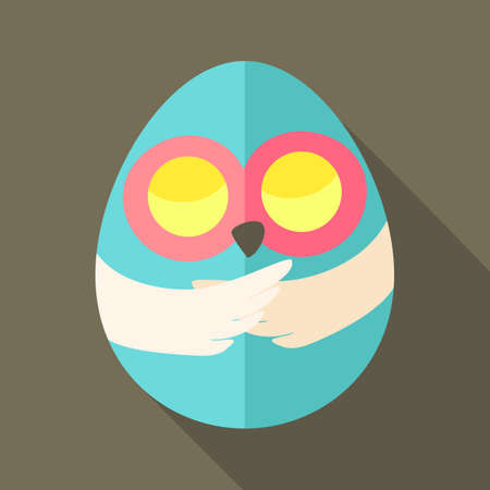 egg shaped: Easter owl egg shaped. Flat stylized illustration with shadow Illustration