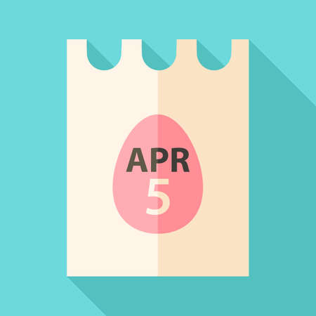 Easter piece of paper with date 5 april and egg sign. Flat stylized illustration with shadow Vector