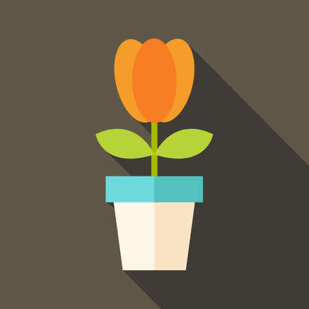 plant pot: Pot with tulip flower. Flat stylized illustration with shadow Illustration