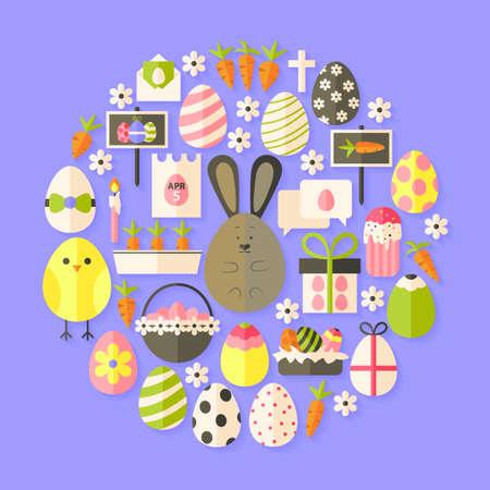 holiday icons: Easter Flat Icons Set circular shaped with shadow. Flat stylized holiday icons set