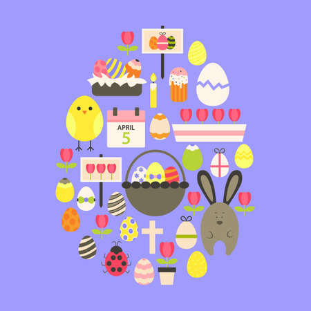 egg shaped: Easter Flat Icons Set Egg shaped over purple. Flat stylized holiday icons set Egg shaped