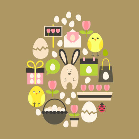egg shaped: Easter holiday Flat Icons Set over light brown. Flat stylized holiday icons set Egg shaped