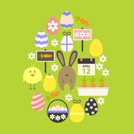 egg shaped: Easter Flat Icons Set Egg shaped over green. Flat stylized holiday icons set Egg shaped