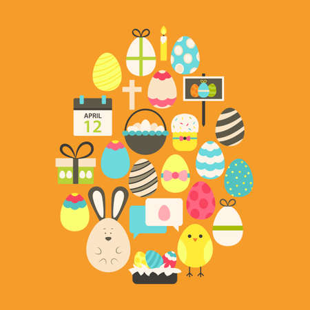 egg shaped: Easter Flat Icons Set Egg shaped over orange. Flat stylized holiday icons set Egg shaped Illustration