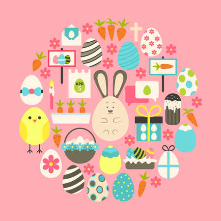 holiday icons: Easter Flat Icons Set over pink. Flat stylized holiday icons set circular shaped