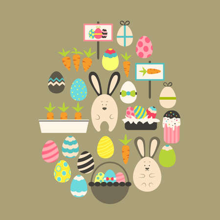 egg shaped: Easter holiday Flat Icons Set over brown. Flat stylized holiday icons set Egg shaped