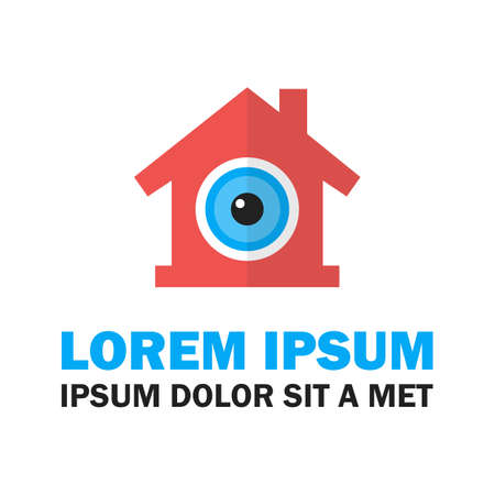 home security: Home security icon. Vector illustration of house with text Illustration