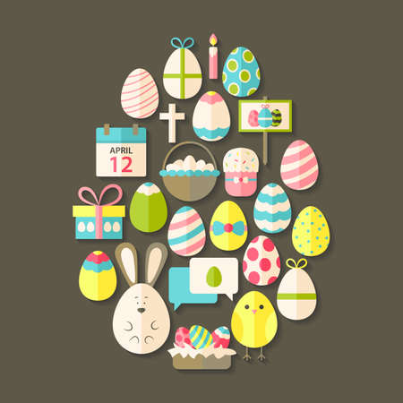 huevo caricatura: Pascua planos de conjunto de iconos en forma de huevo con la sombra m�s marr�n. Holiday iconos estilizados planas establecen Vectores