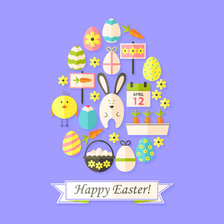 egg shaped: Easter Holiday Card with Flat Icons Set Egg shaped. Greeting card Flat styled with shadows Illustration
