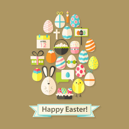 egg shaped: Easter Holiday Greeting Card with Flat Icons Egg shaped. Greeting card Flat styled with shadows Illustration