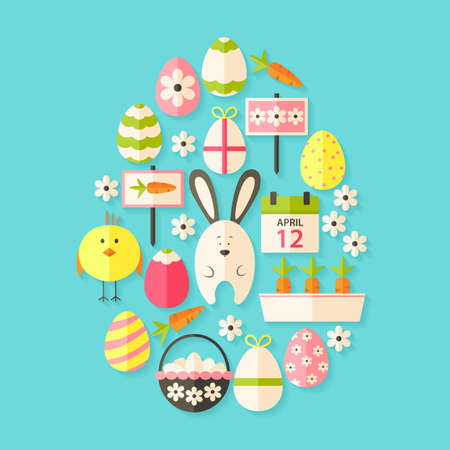 egg shaped: Easter Flat Icons Set Egg shaped with shadow over blue. Flat stylized holiday icons set