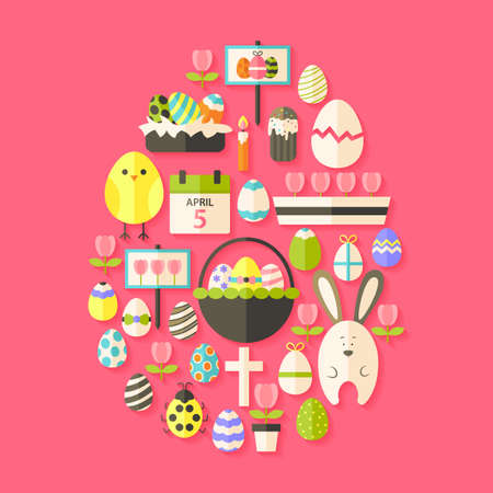 egg shaped: Easter Flat Icons Set Egg shaped with shadow over dark pink. Flat stylized holiday icons set