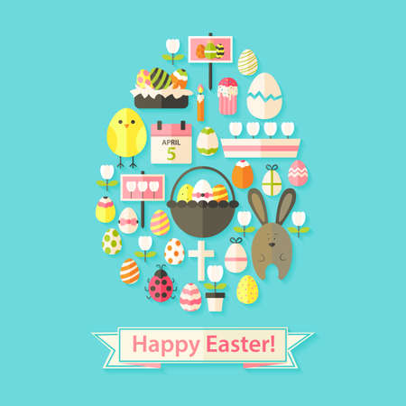 egg shaped: Easter Greeting Card with Flat Icons Egg shaped. Greeting card Flat styled with shadows Illustration