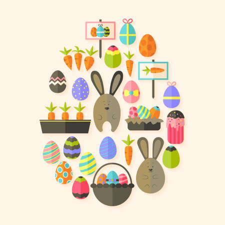 egg shaped: Easter holiday Flat Icons Set  Egg shaped with shadow over beige. Flat stylized holiday icons set Illustration