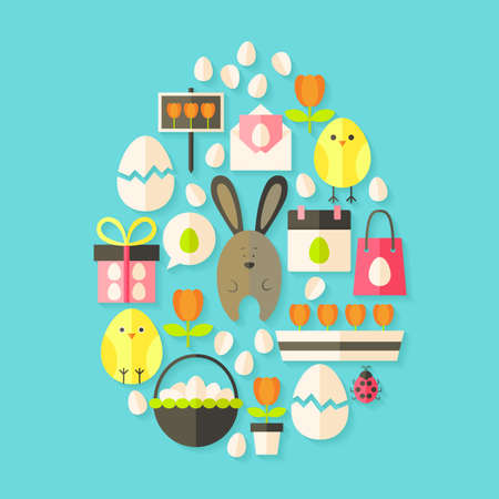 egg shaped: Easter holiday Flat Icons Set Egg shaped with shadow over blue. Flat stylized holiday icons set Illustration