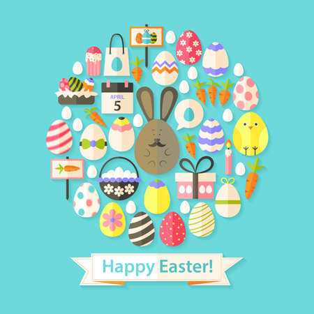 Easter Holiday Greeting Card with Flat Icons Set circular shaped. Greeting card Flat styled with shadows Illustration