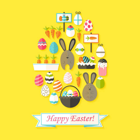 egg shaped: Easter Holiday Greeting Card with Flat Icons Set Egg shaped. Greeting card Flat styled with shadows