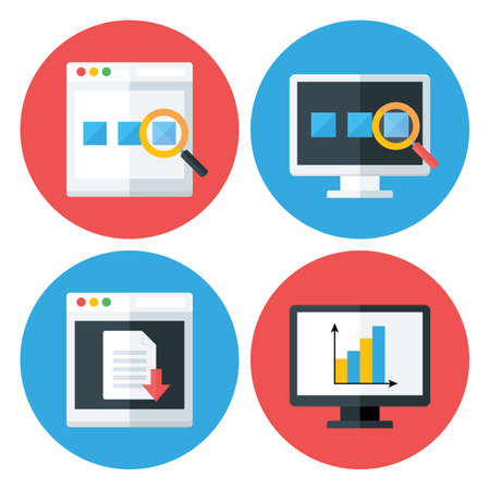 web site design template: Computer Browser Technology Flat Circle Icons Set. Flat stylized icons