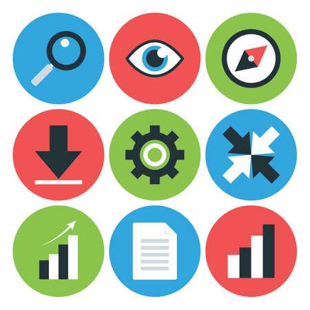 redes de mercadeo: Piso Styled circulares iconos de negocios. Website Icons Set Vectores