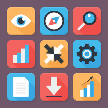 set square: Flat Stylized Business App Icons Set. Square Shaped Icons with Long Shadows