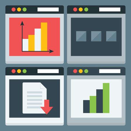 programing: Flat Stylized Web Page Icons Set. Four Flat Web Pages