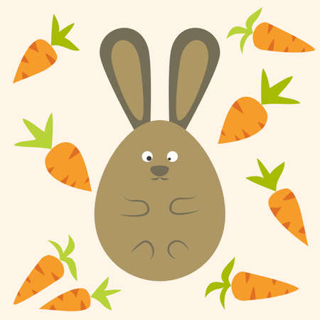 egg shaped: Strange Bunny Flat Stylized Egg Shaped with carrots. Vector illustration