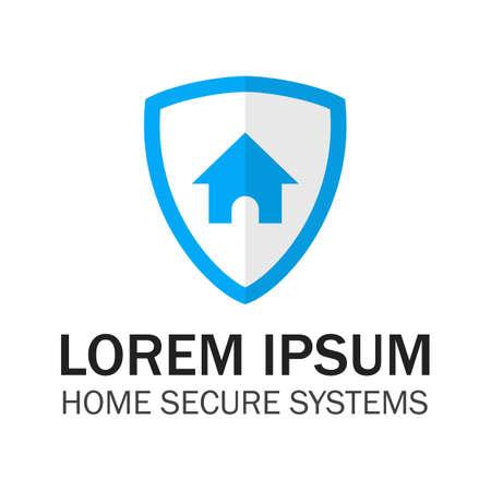 블루 쉴드 홈 보안. 벡터 디자인 컨셉 일러스트