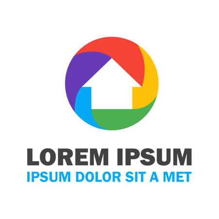 logo batiment: Maison color�. Vector Design Concept