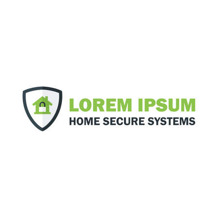 home security system: Green Home Security System with Padlock. Vector Design Concept Illustration