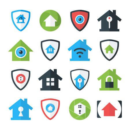 Home Security Icons Set. Platte Gestileerde Vector Icons