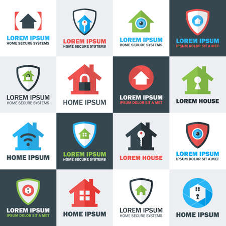 guard house: Home Security Set. Flat Stylized Vector