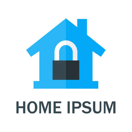 Home with Padlock . Vector Design Concept Vettoriali